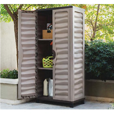 Outdoor Storage Cabinet Garden Utility Plastic Horizontal Shed Garage Lockable