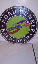 ROAD RUNNER BEEP BEEP EMBOSSED DIE CUT TIN WITH RAISED LETTERS 12 BY 12 INCHES