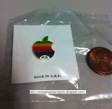 Vintage Apple Computer Rainbow Logo Pin Lapel AUTHENTIC (Steve Jobs era 80's)