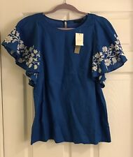Women's J.Crew Collection Blue Embroidered Linen Flounce Top, Size 6