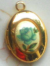 #1443YA  Vintage Locket Limoges Blue Rose Oval Little Girl Child Gold Tone