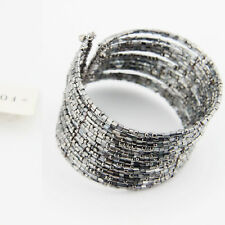 Huge Bohemia Silver Gray Beads Multilayer Lady Open Club Bangle Bracelet