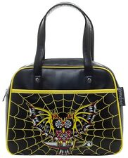 Sourpuss Purse Night Owl Bowler Shoulder Bag Punk Rock Goth Spiderwebs SPPU122
