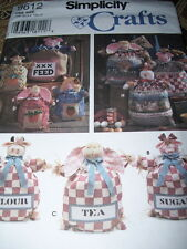 """SIMPLICITY #9612-12"""" - 15"""" & 20"""" FEED SACK DOLLS-PIG-COW-LAMB-CHICKEN PATTERN FF"""