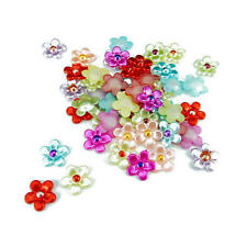 Buddly Crafts 11mm Flatback Daisy Pearls - 100pcs Assorted P46