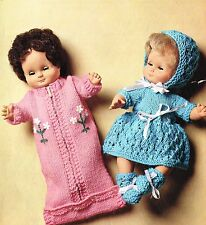 "Dolls clothes knitting pattern. 12"" doll. Laminated copy. (V Doll 147)"