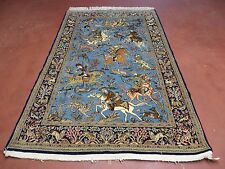 5' X8' Vintage Hand Made Persian Pictorial Qum Hunting Wool Silk Rug Carpet Nice