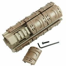 "Carbine Length 6.7"" Handguard Picatinny Quad Rail with 12 Rubber Rail Cover Tan"