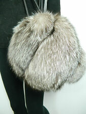 2 in 1 INDIGO SILVER FOX FUR ROUND MUFF OR HANDBAG PURSE BLACK LEATHER Renard