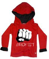 KIDS BOYS CHILDRENS STARDUST BOYS GIRLS PEWDIEPIE INSPIRED BROFIST HOODY (RED)