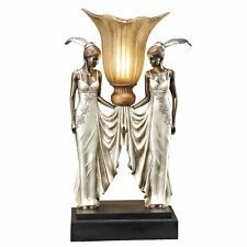 Design Toscano PD331 Art Deco Peacock Maidens Illuminated Statue Table Lamp
