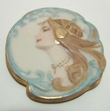 Hand Painted Lady Side Portrait Porcelain Cameo Insert Margarita Limon