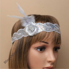 SILVER GREY SEQUIN FEATHER ROSE HEADBAND 20s 1920 FANCY DRESS CHARLESTON FLAPPER