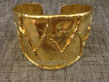 NEW NEIMAN MARCUS WOMEN'S GOLD PLATED CUFF BRACELET ABSTRACT RAISED LINE PATTERN