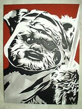 Canvas Painting Star Wars Wicket The Ewok Brown B&W Art 16x12 inch Acrylic