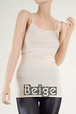 T-B1002 Basic Long Adjustable Sphagetti Strap CAMI TANK Top Layering Plus S ~3XL