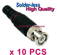10 High Quality Solder-less Coaxial RG58 RG59 BNC Connector Plug for CCTV Camera
