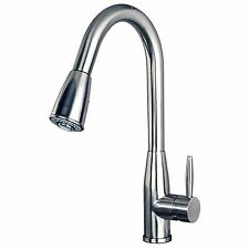 "Contemporary 16"" Pull-Down Spray Kitchen Sink Faucet Stainless Steel Finish"