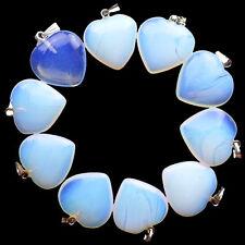 10pcs Colorful Opal Opalite Heart Pendant Bead F014