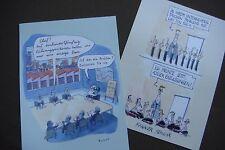 2 Postkarten Eulenspiegelverlag Kündigung Entlassungen Manager Chef