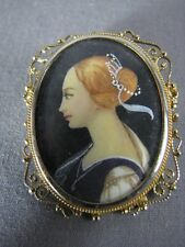Vintage Gilt 800 Silver Hand Painted Portrait Miniature Lady Pendant Brooch