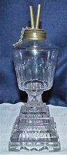 Antique Tiered Lacy Flint Glass Whale Oil Lamp with Double Wick Burner Colonial