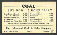 1937 PC CLEVELAND OH THE LAKEWOOD COAL & COKE CO PRICE LIST FOR COAL