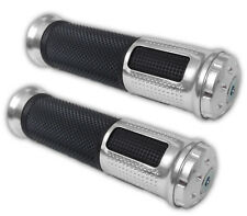 "Silver 7/8"" 22/25mm Pair Dirt Bike Motorbike Motorcycle HandleBar Grip & Bar End"