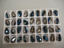 24 new preciosa teardrop crystal beads,15x10mm blue flare