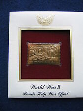 1993 WWII Bonds and Stamps Help War Effort 22kt Gold GOLDEN Replica Cover STAMP