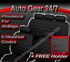 Black Quilted Leather Look Car Seat Covers, Air Bags OK
