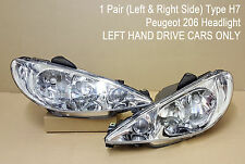PEUGEOT 206 RIGHT AND LEFT H7+H7 PAIR HEADLIGHT HEADLAMP LHD LEFT HAND DRIVE