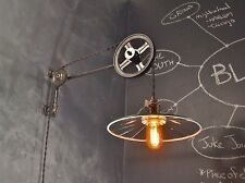 Vintage Industrial Pulley Sconce w/ Mirrored Reflector Shade - Machine Age Light