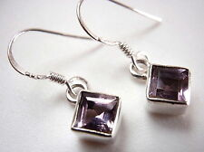 Faceted Amethyst Earrings 925 Sterling Silver Dangle Drop New Square Very Small