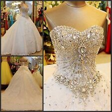 Custom New White/Ivory Luxury Crystals  Wedding Bridal Dress Gown Size 2--28+++