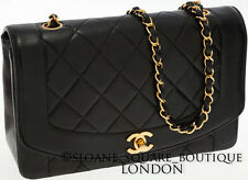 "CHANEL VINTAGE CHANEL ""DIANA"" BLACK BAG 2.55 Oro Hardware GHW Harrods"
