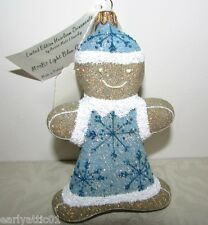 Mattarusky Gingerbread Boy Ornament  Light Blue Snowflake Sweater and Hat M79B7
