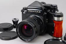 [Near Mint] Pentax 67 TTL Medium MLU w/ Wood Grip & 75mm Lens from Japan #5534