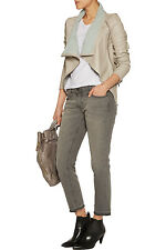 NWT $550 Muubaa Sabina Draped Genuine Leather Scuba Moto Jacket Vince Style,sz.4