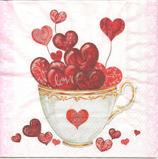 4 Single Paper Napkins for Decoupage Hearts Cup Love