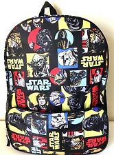 "Star Wars 16"" Backpack Book Bag School Travel Comic Multi Color NWT"
