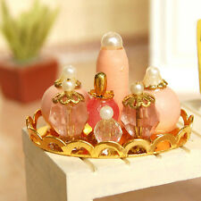 1:12 Dollhouse Miniature Pink Perfume Se Bathroom Furniture t with Golden Tray