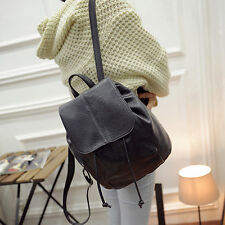 Retro Black Faux Leather Women Satchel Backpack Travel Shoulder Pack College Bag