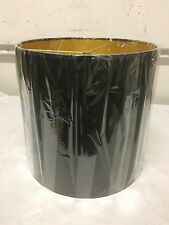 """Tall  Drum Shape Lamp Shade 15"""" w x 14"""" ht Black and Gold"""