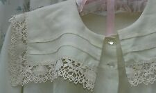 Vintage NIGHTGOWN Cream Pleated/Lace-trimmed; Full length; Long sleeve Beautiful