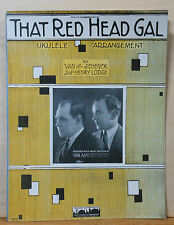 That Red Head Gal - 1923 sheet music - Van and Schenck photo cover, ukulele arr.