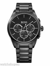 NEW HUGO BOSS 1513365 MENS BLACK CHRONOGRAPH WATCH - 2 YEAR WARRANTY