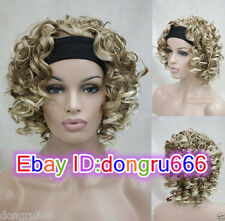 Charm Ladies wig short dark blonde mix 3/4 with headband Wavy half wigs