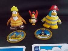 3 Figuras Jakks Disney Club Penguin tarjetas y 2 discos en movimiento giratorio piezas en muy buena condición