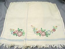 A pair of beautifully embroidered chair backs - probably silk